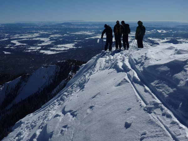 Skiing off Pagosa Peak